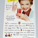 1949 V-8 Cocktail Vegetable Juice Color Print Ad Celebrity Ann Baxter