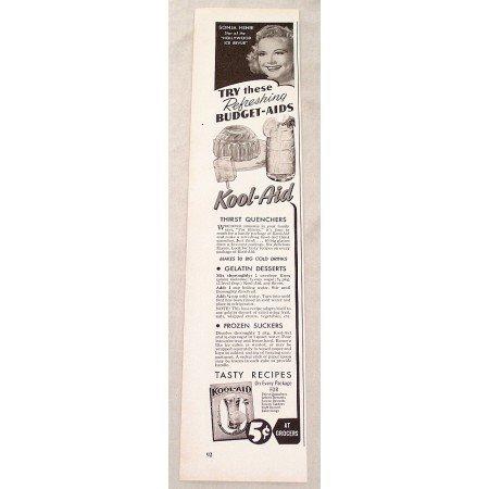 1947 Kool Aid Drink Color Print Ad Celebrity Sonja Henie