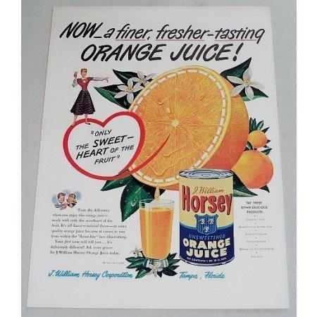 1948 Horsey Orange Juice Color Print Ad - Fresher-Tasting