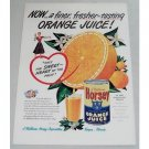 1948 Horsey Orange Juice Color Print Ad - Fresher-Tasting
