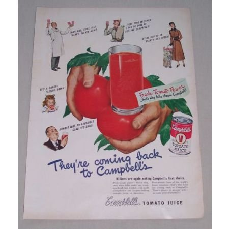 1949 Campbell's Tomato Juice Color Print Ad - Coming Back