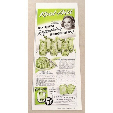 1947 Kool Aid Drink Color Print Ad Celebrity Sonja Henie