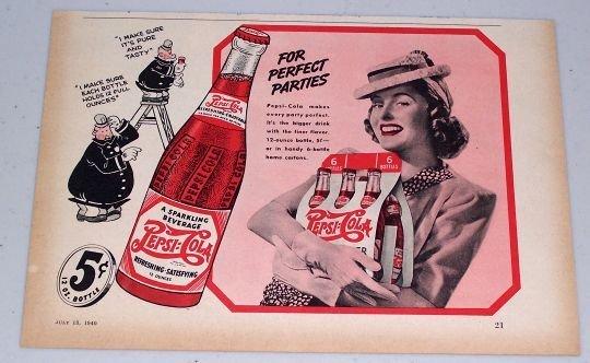 1940 Pepsi Cola Soda Beverage Pepsi Pete Art Color Print Ad