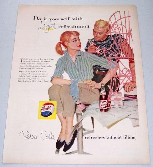 1957 Pepsi Cola Soda Color Art Print Ad