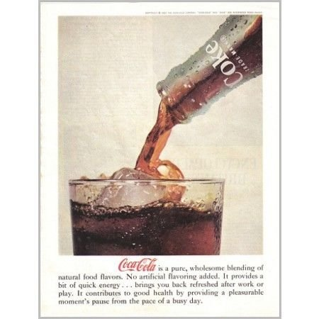 1961 Coca Cola Color Soda Color Print Ad - Pure Wholesome Blending
