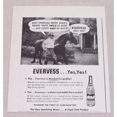 1947 Pepsi Evervess Sparkling Water Print Ad