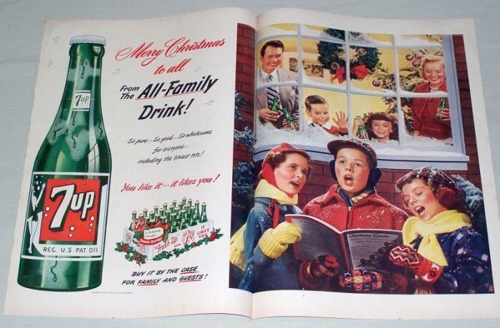1951 7UP Soda 2 Page Color Christmas Carols Print Ad