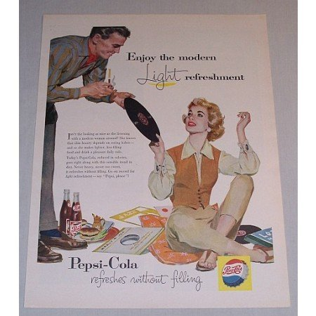 1957 Pepsi Cola Soda Soft Drink LP Records Color Art Print Ad - Go On Record