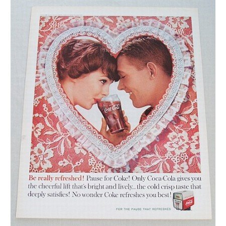 1960 Coca Cola Coke Soft Drink Valentines Color Soda Print Ad - Be Really Refreshed