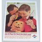 1963 Pepsi Cola Soft Drink Halloween Carving Pumpkin Color Soda Print Ad - America Wearing A Grin