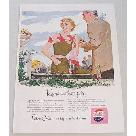 1954 Pepsi Cola Soft Drink Color Soda Art Print Ad - Maxim For Modern Living