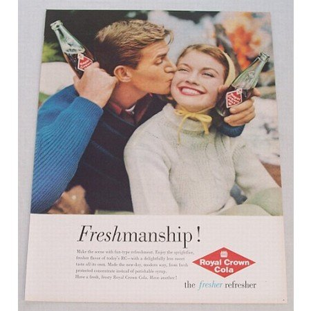 1960 RC Royal Crown Cola Color Soda Print Ad - Freshmanship