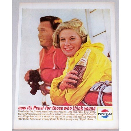 1963 Pepsi Cola Soda Soft Drink Color Print Ad - The Livelier Life