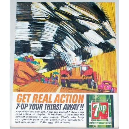 1963 7 Up Soda Soft Drink Racing Checkered Flag Art Color Print Ad - Get Real Action