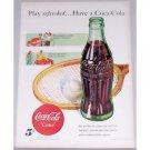 1948 Coca Cola Coke Hobbleskirt Bottle Tennis Art Color Print Ad - Play Refreshed