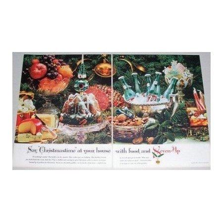 1961 7 UP Soda 2 Page Color Print Ad - Say Christmastime
