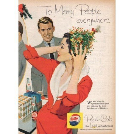 1958 Pepsi Cola Color Soda Art Print Ad - Merry People Everywhere