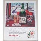 1945 Clicquot Club Ginger Ale Winter Scene Art Color Print Ad - Flavor-Aged
