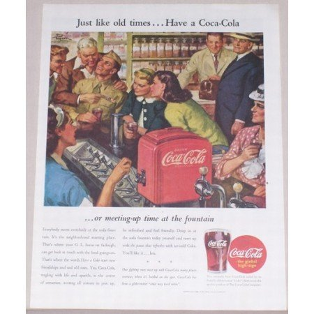 1945 Coca Cola Color Color Art Print Ad - Just Like Old Times