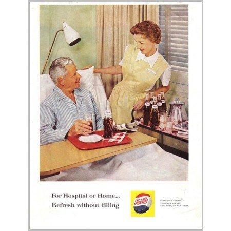 1961 Pepsi Cola Color Soda Print Ad - For Hospital or Home