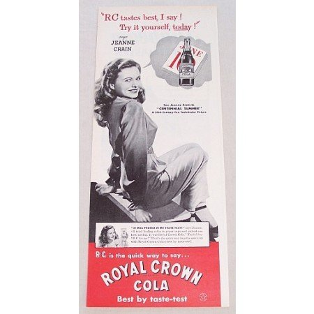 1946 Royal Crown Cola RC Print Ad Celebrity Jeanne Crain