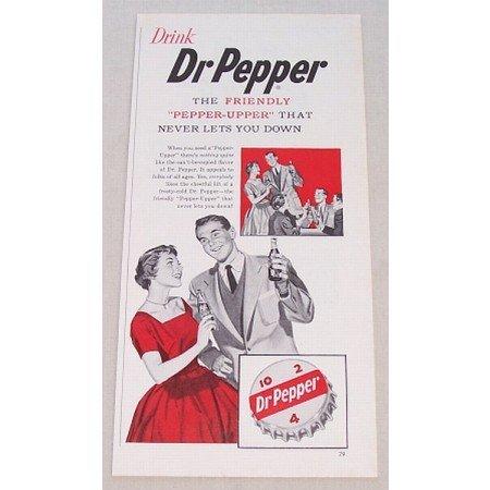 1955 Dr Pepper Soda Color Print Ad - Friendly Pepper Upper