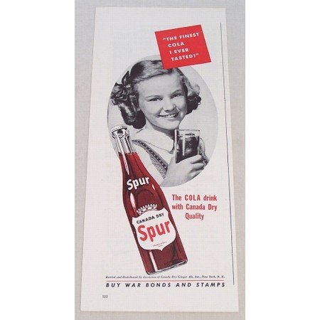 1943 Canada Dry Spur Cola Color Soda Print Ad