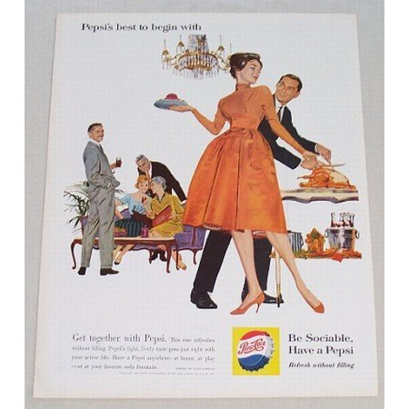 1960 Pepsi Cola Color Art Print Ad - Pepsi's Best To Begin With