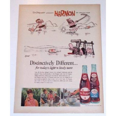 1965 Dr Pepper Soda Harmon Johnny Hart Art Color Print Ad