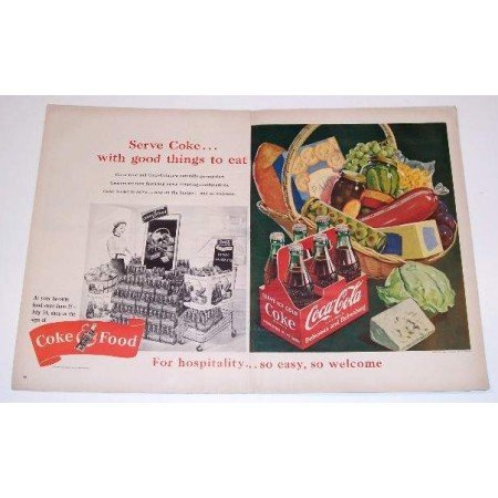 1951 Coca Cola 2 Page Color Soda Art Print Ad - Coke and Food