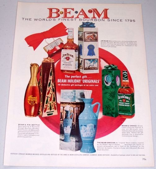 1961 Jim Beam Holiday Originals Decanters Color Whiskey Print Ad