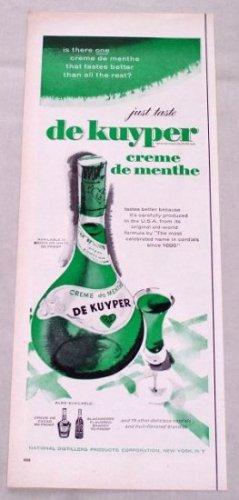 1953 DE KUYPER Creme de Menthe Color Liquor Print Ad