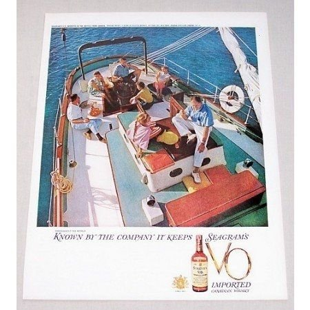 1959 Seagram's VO Whiskey Color Sailing Print Ad