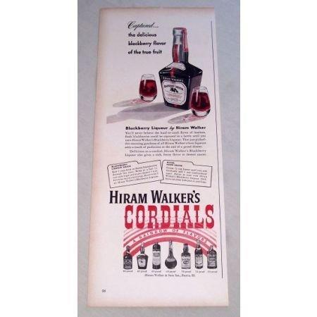 1950 Hiram Walker's Cordials Blackberry Liqueur Print Ad
