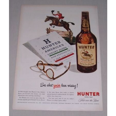 1949 Hunter Whiskey Equestrian Horse Animal Art Eye Chart Color Print Ad