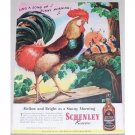 1945 Schenley Whiskey Rooster Animal Art Color Ad - Sing A Song