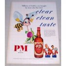 1950 PM Deluxe Blended Whiskey Bee Art Color Print Ad