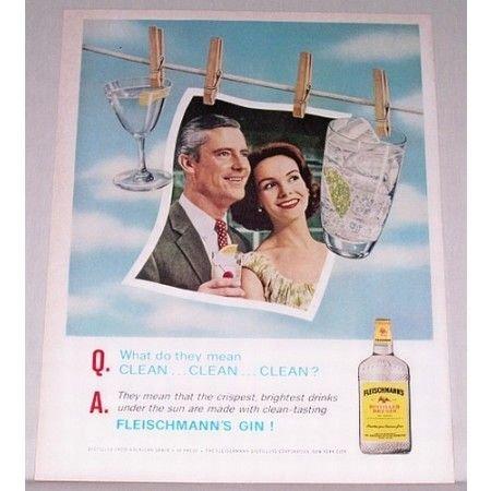 1961 Fleischmann's Dry Gin Color Print Ad
