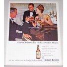 1960 Calvert Reserve Whiskey Piano Color Print Ad