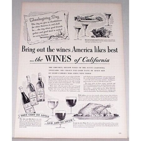 1948 Wines of California Print Ad - Bring Out The Wines