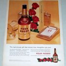 1954 Four Roses Whiskey Gift Bottle Color Print Ad
