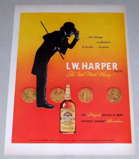 1953 I.W. Harper Bourbon Whiskey Color Print Ad