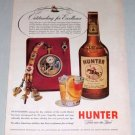 1953 Hunter Blended Whiskey Masterpiece Watch Color Print Ad