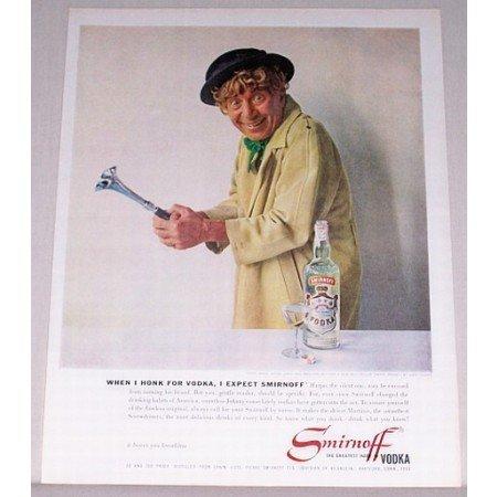 1961 Smirnoff Vodka Color Ad Celebrity Comic Harpo Marx