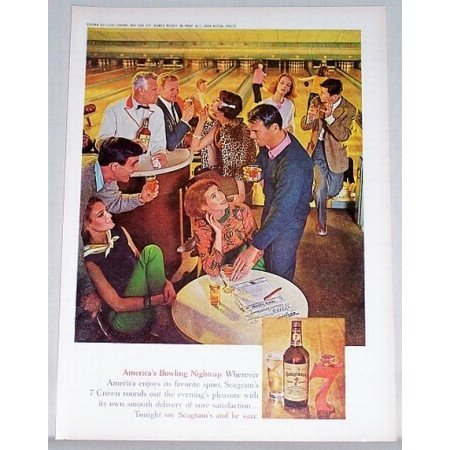1961 Seagram's 7 Blended Whiskey Color Bowling Lanes Art Ad - Bowling Nightcap