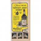 1940 Glenmore Bourbon Whiskey Print Ad
