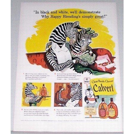 1942 Calvert Whiskey Zebra Animal Art Color Print Ad