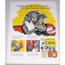 1942 Calvert Whiskey Zebra Animal Art Color Print Ad