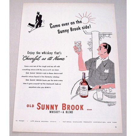 1948 Old Sunny Brook Whiskey Color Art Print Ad