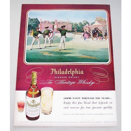 1948 Philadelphia Blended Whiskey Archery Art Color Print Ad